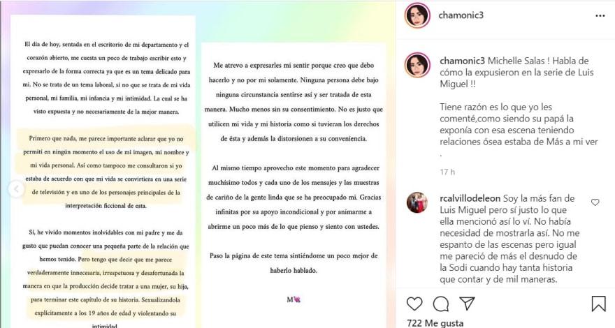 Michelle Salas, hija de Luis Miguel, molesta con su padre por sexualizar su imagen