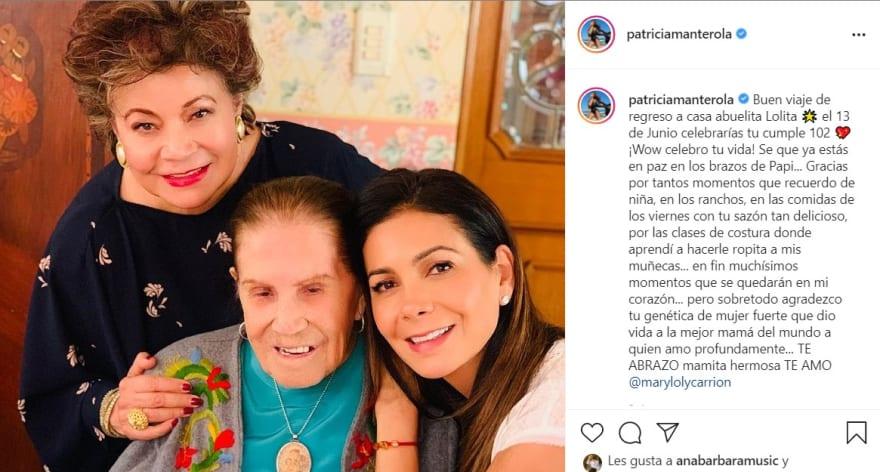 Paty Manterola está de luto, fallece su abuela a los 101 años