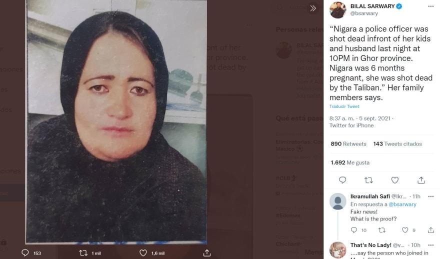 """Talibanes asesinan mujer embarazada: """"Fue asesinada a tiros"""""""