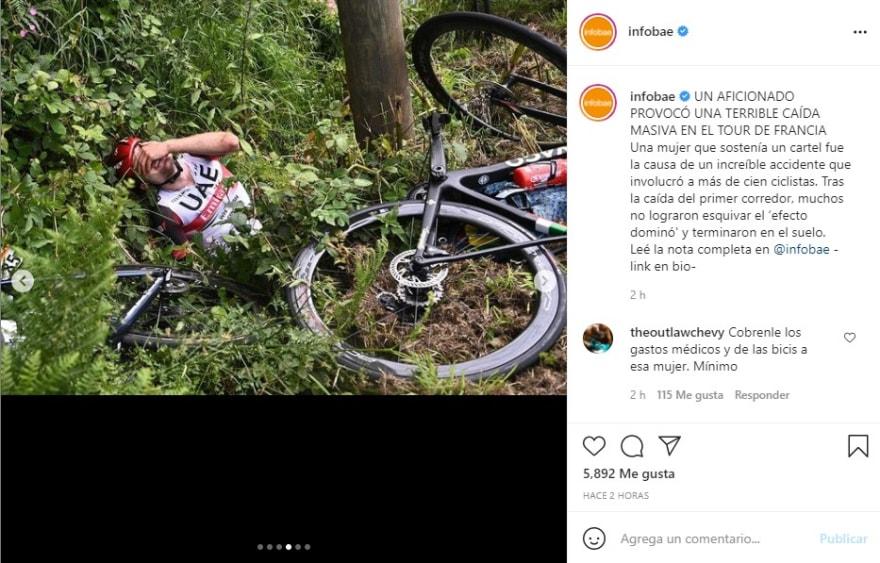 Accidente Tour de Francia: La mujer se fue del lugar
