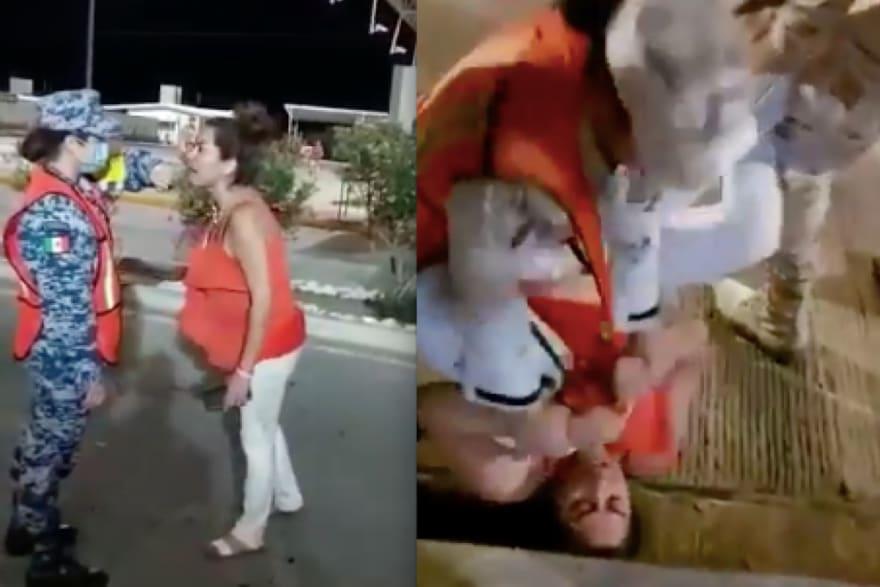 ¿Embarazada y sometida? Mujer cachetea a elemento de la Guardia Nacional y ellos responden (VIDEO)