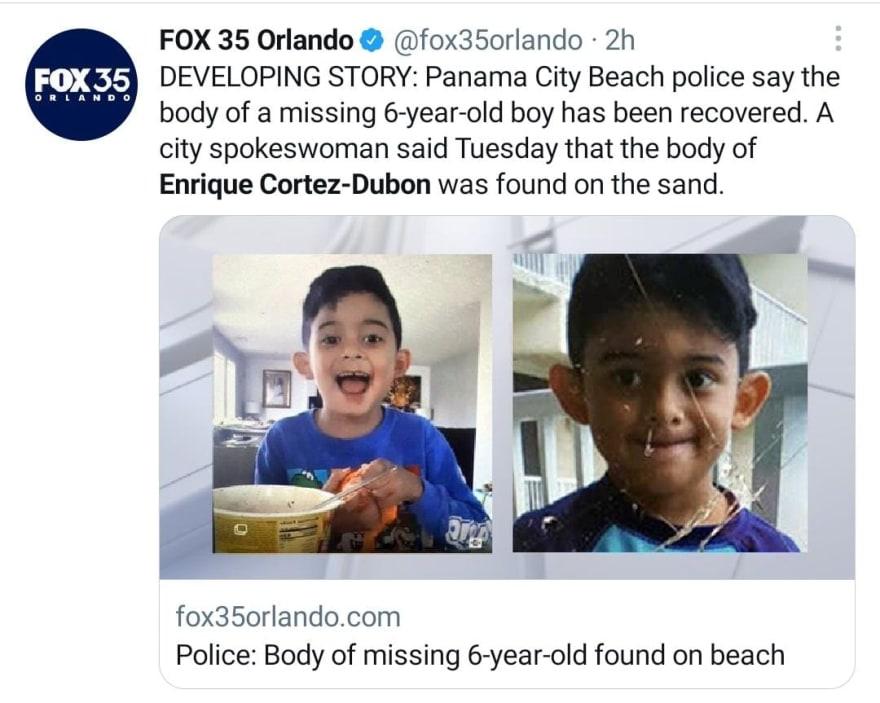 Encuentran el cuerpo del niño Enrique Cortez Dubon desparecido en playa de Florida