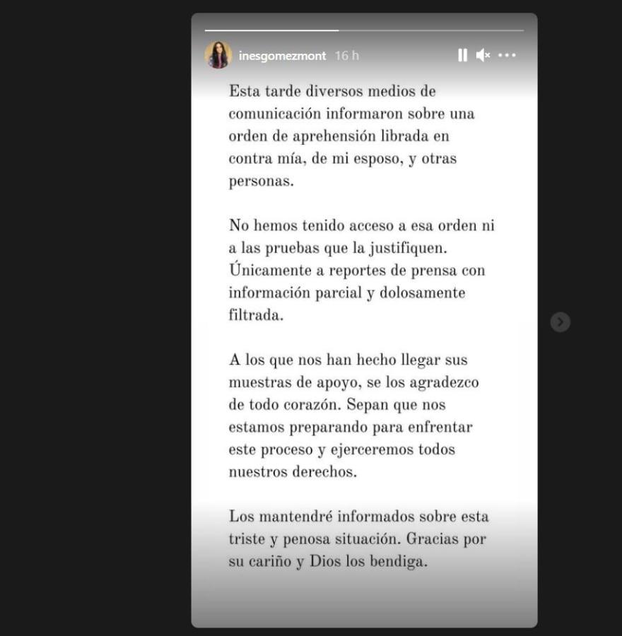 Inés Gómez Mont comunicado: El comunicado
