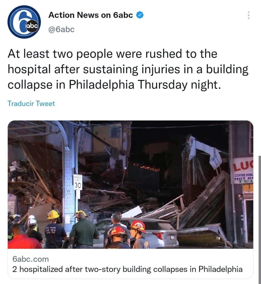 ¿Hay más víctimas en el colapso de tres edificios en Filadelfia?