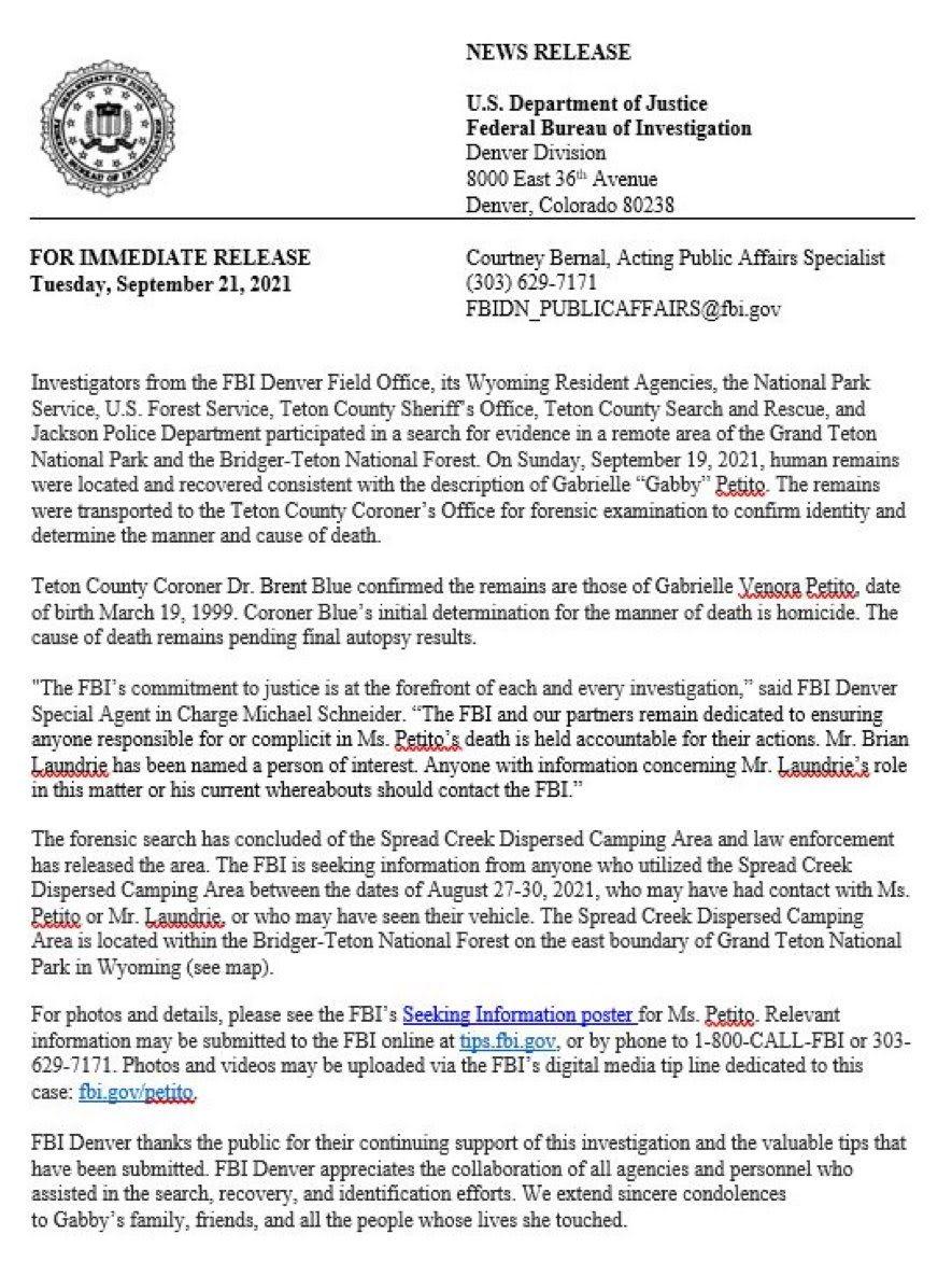 Cadáver hallado en Wyoming sí es de Gabby Petito