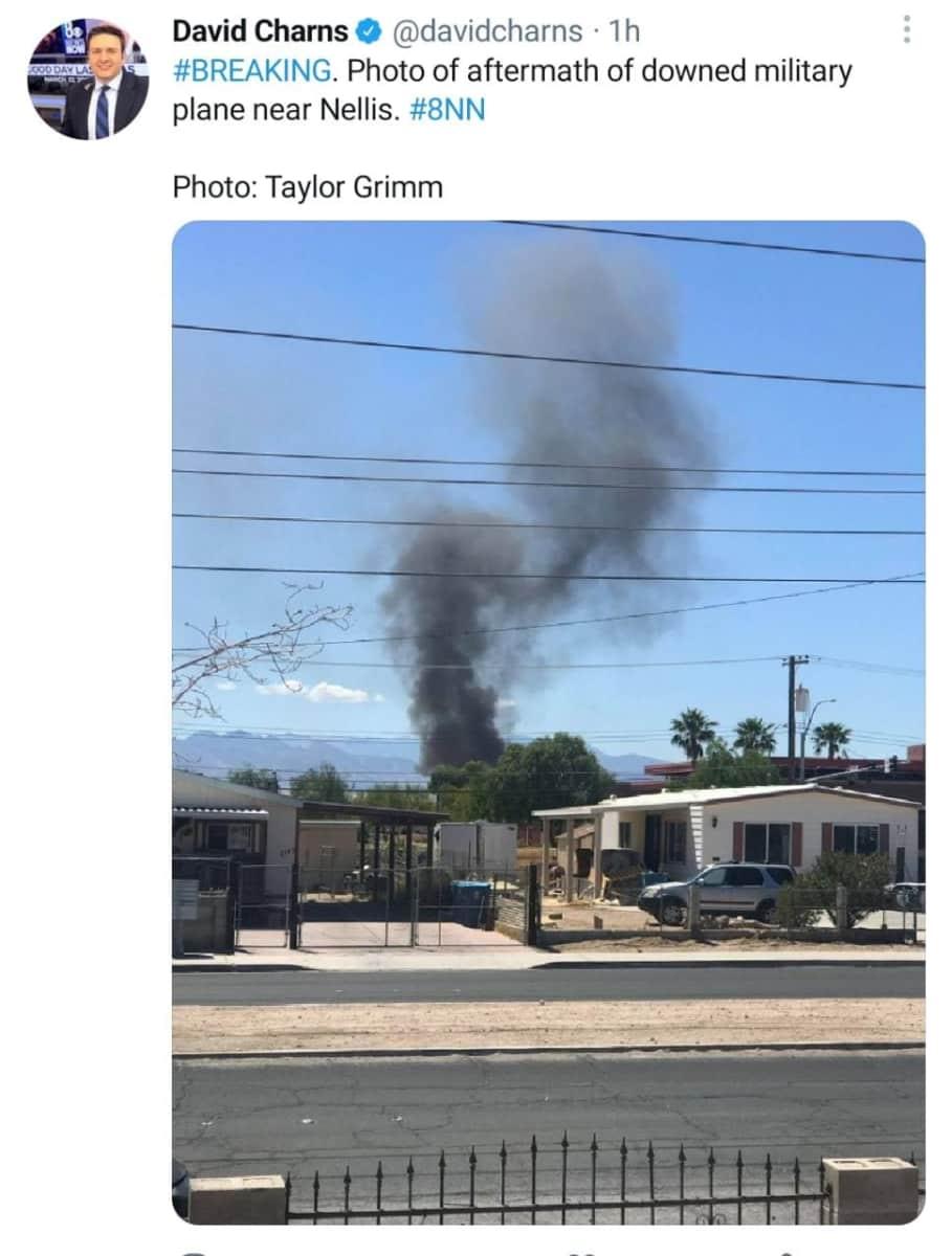 Video del accidente del avión militar en Nevada