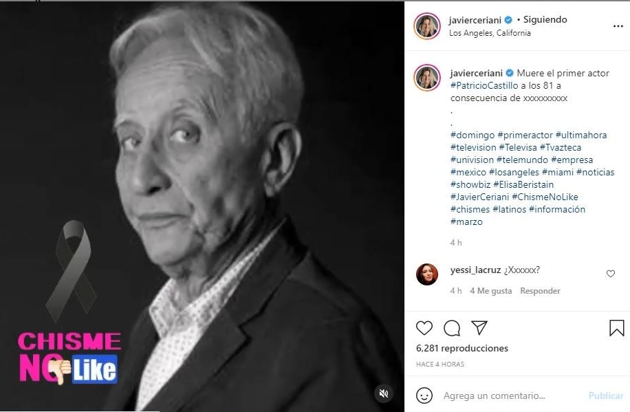 Revelan que el actor Patricio Castillo se encuentra muy grave por cáncer de pulmón
