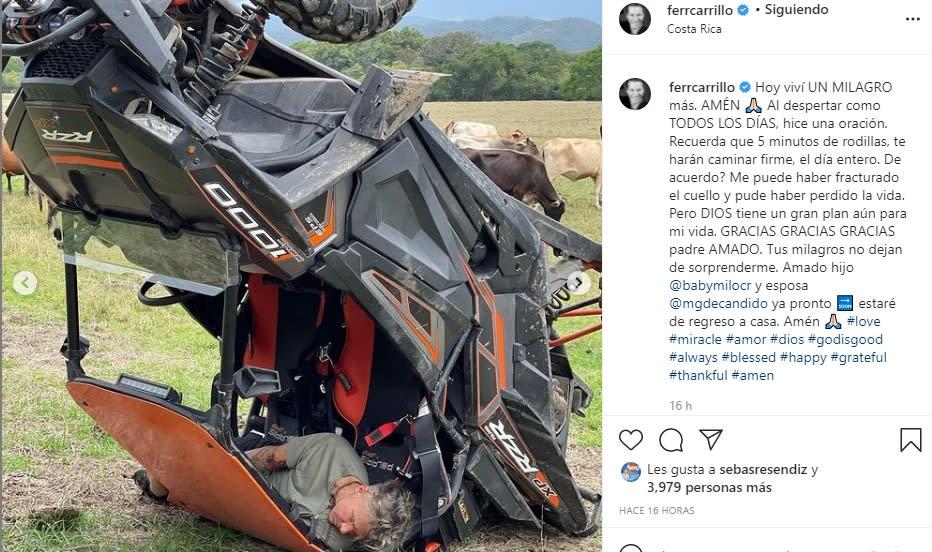 Fernando Carillo sufre aparatoso accidente y dice que pudo haber perdido la vida