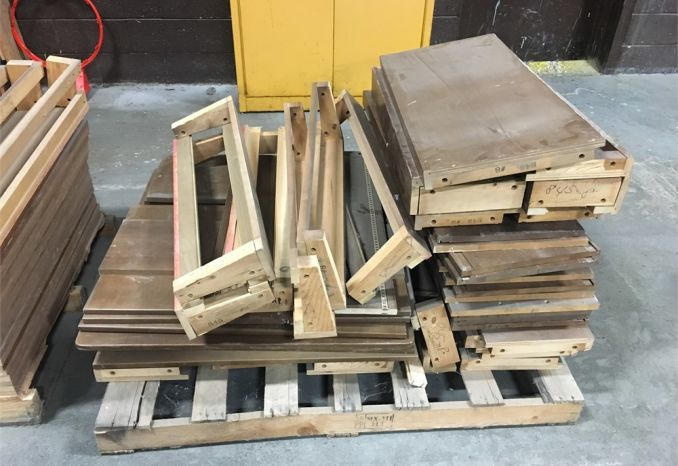 3 Pallets of used wooden library shelving
