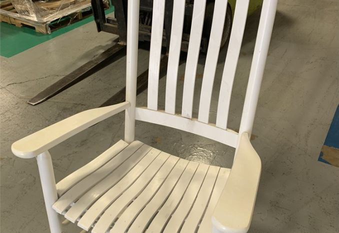 1 Rocking Chair, White, Wood (Assembled) / LOT-42-ROCKCHAIR-1