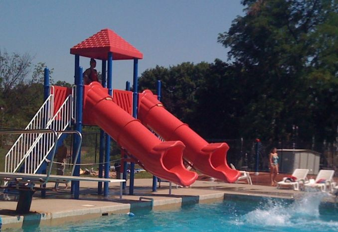 Swimming Pool Slide, 2 Flumes