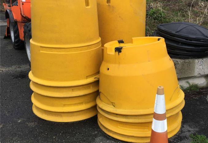 SAND BARRELS AND COVERS (6)