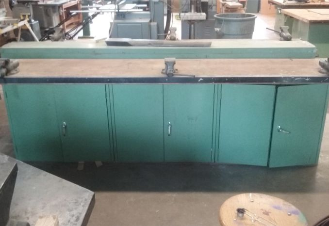 Workbench with Storage Cabinets and 3 Vices