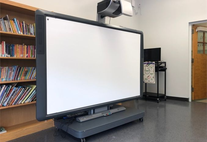 Promethean interactive display, projector, stand, speakers