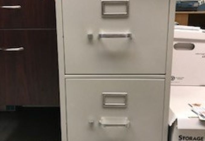 GREY FILE CABINET TWO DRAWER