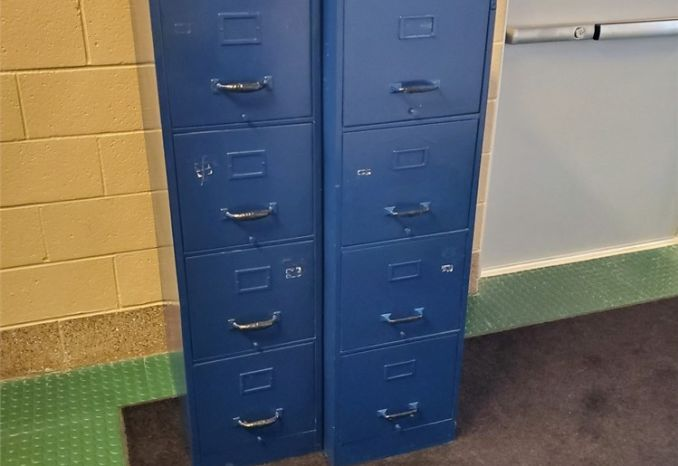 2 Blue Filing Cabinets, 4 drawers (#80)