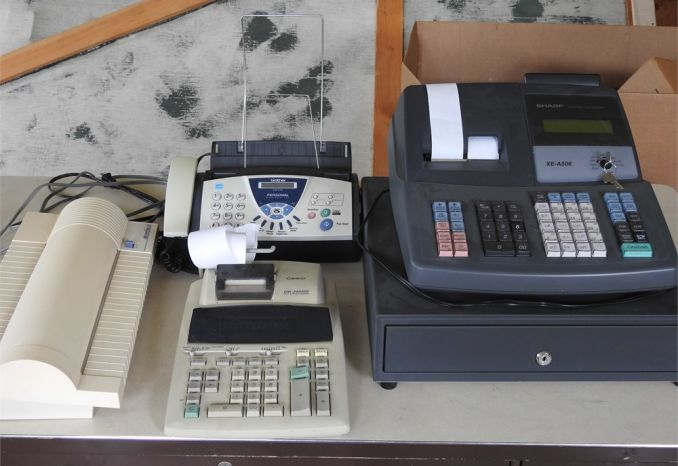 Cash Register, Fax Machine, Laminator and Calculator