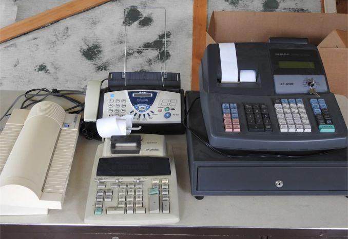 Cash Register, Fax Machine, Laminator and Calculator