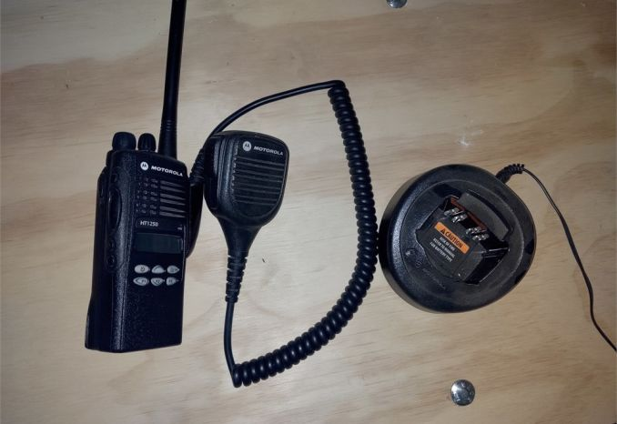 Motorola HT1250 VHF Radio / Charger / Lapel Mic