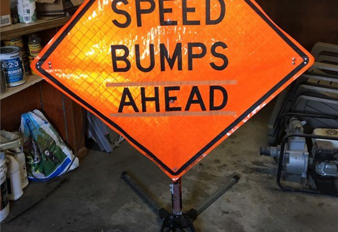 Speed Bumps Ahead 36X36 Roll Up Signs