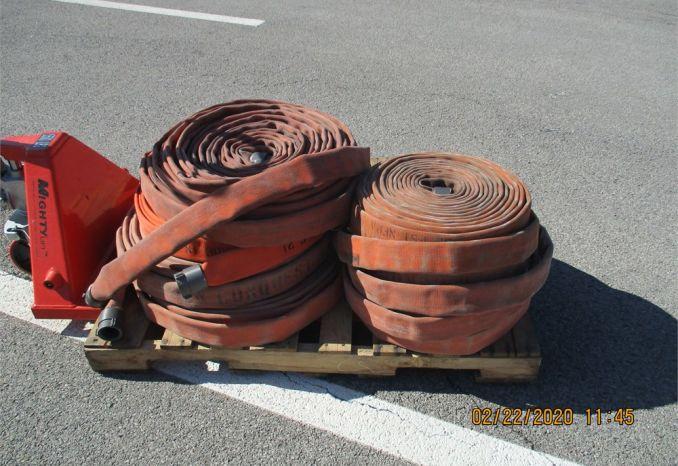 pallet of Orange fire hose