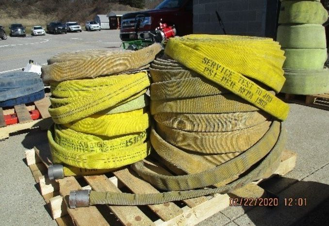 Pallet of yellow fire hose