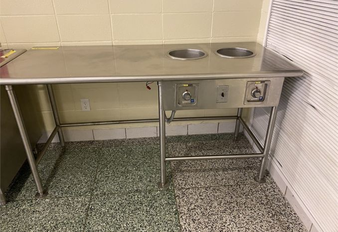 Stainless steel table w/ soup warmer