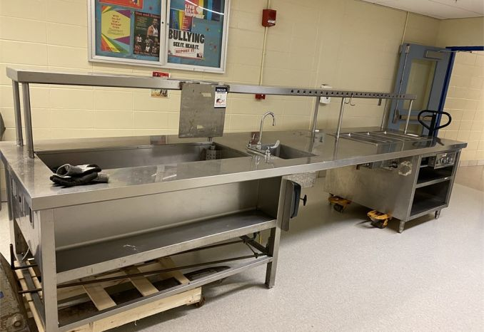 Stainless steel kitchen serving line