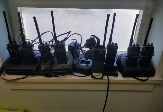 Eight (8) VHF Portable radios w/batteries and chargers