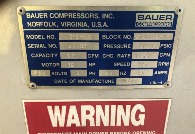 1992 Bauer air compressor