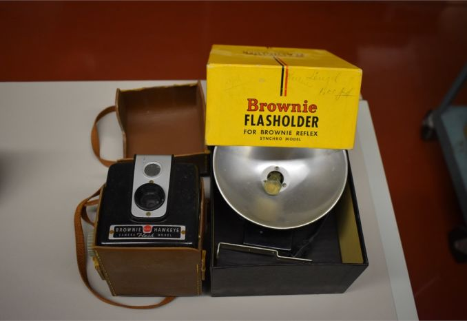 Kodak Brownie with case and flash holder