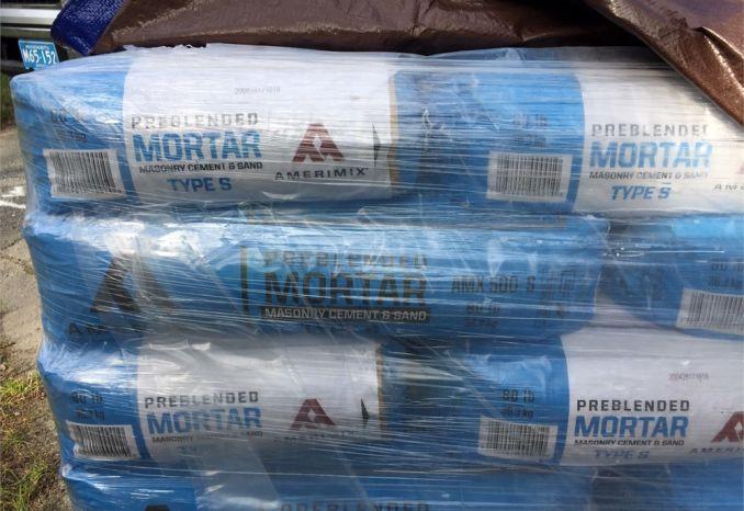 56 80LB bags of premix mortor