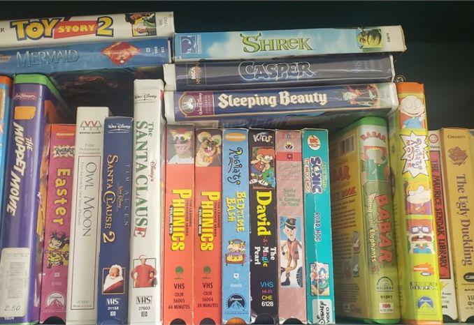 Sharp VHS player and bonus extensive vintage VHS collection