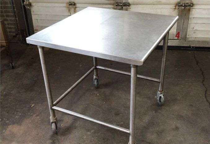 Stainless Steel Table with casters (1 of 3)