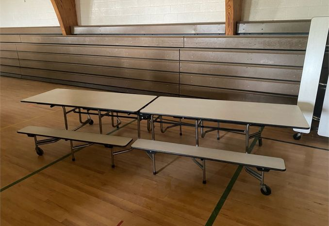 Cafeteria lunch tables