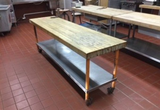 Wood Preparation table with can opener