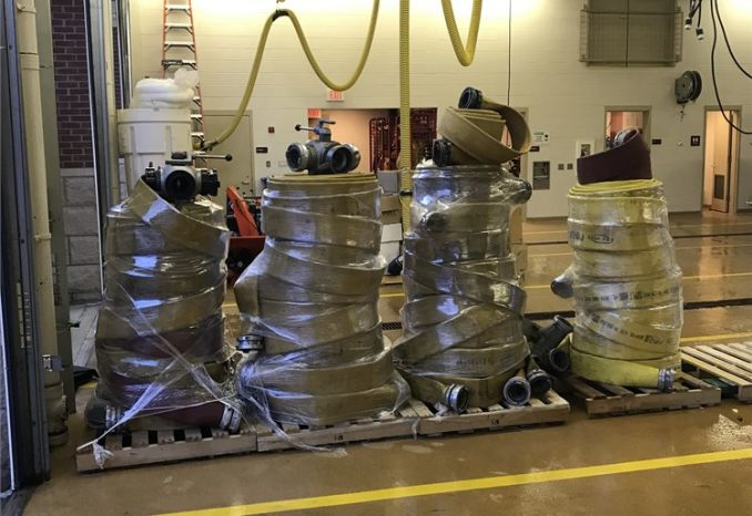 """Approximately 3,000 feet of 4"""" supply line and various valves"""