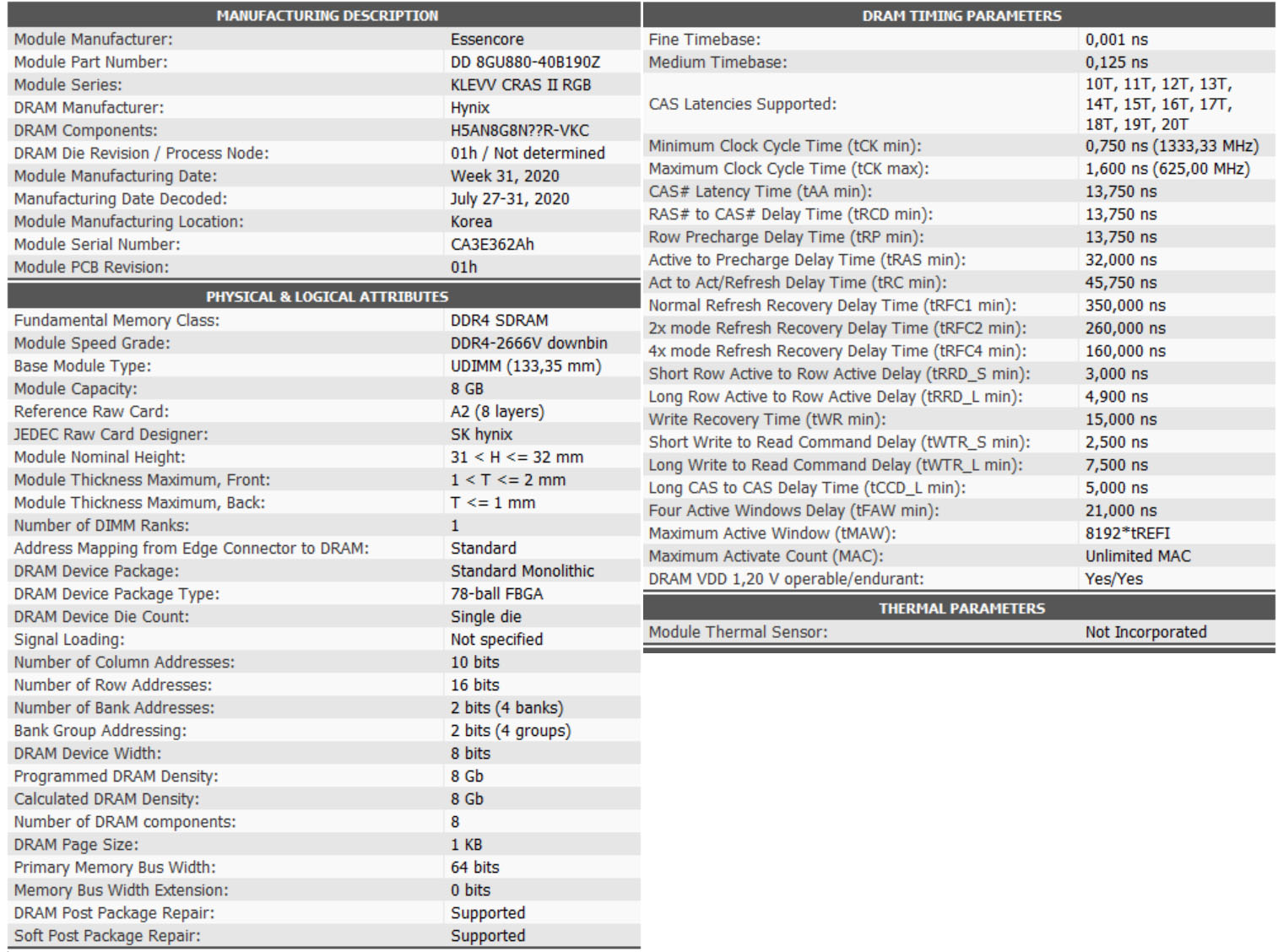 KLEVV CRAS XR RGB 16GB DDR4 4000Mhz