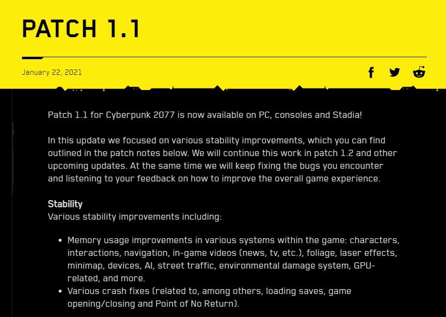 Patch terbaru Cyberpunk 2077