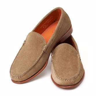 Picture of Taupe  Taupe  Taupe  Taupe Venetian Loafers - Taupe Odesa Suede
