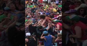 Image of Andy Frasco Crowd Surfs at Jam Cruise 16