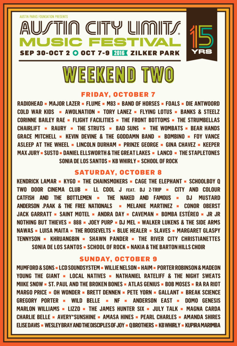 Austin City Limits 2016- Week 2
