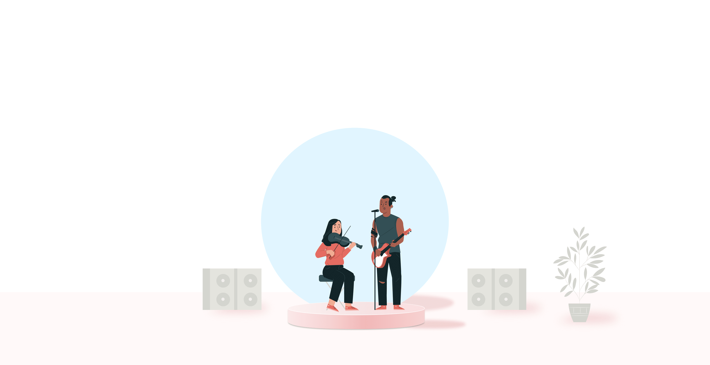 Gitarrist och violinist uppträder på en scen