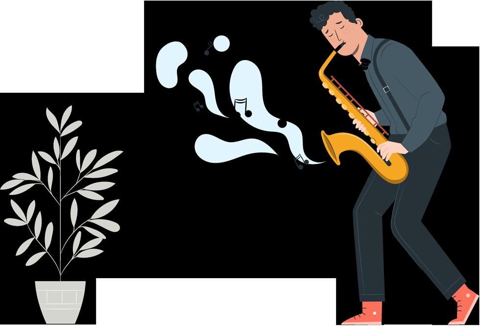 Man som spelar saxofon