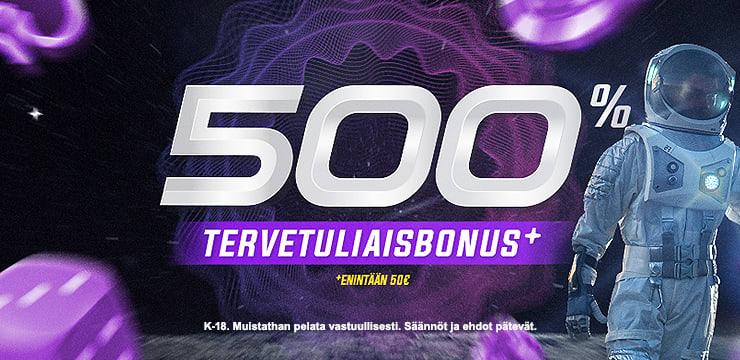 500% Tervetuliaistarjous