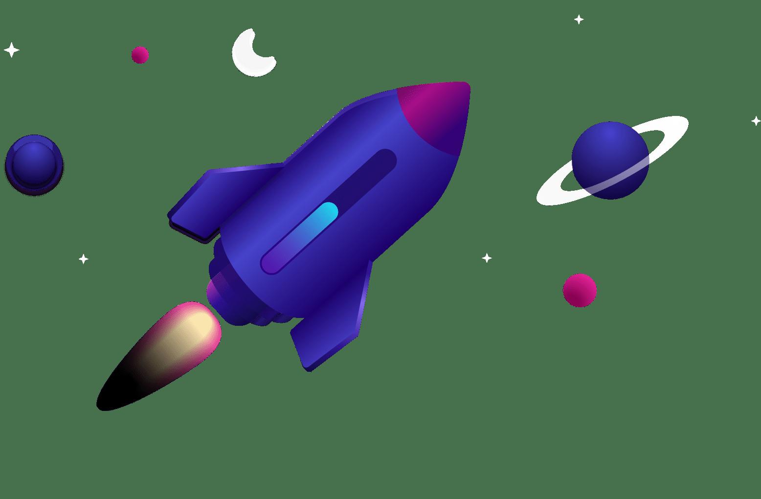 Rocket ship blasting through a solar system, with a progress bar built into the design of the ship.