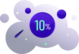 Bubbles with text reading: 10%.
