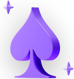 Symbol for the spades card deck, with stars hovering around.