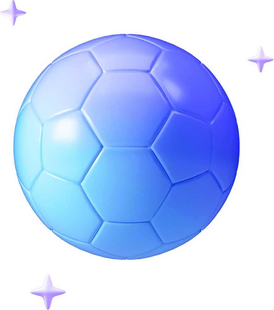 Futuristic blue football surrounded by stars.