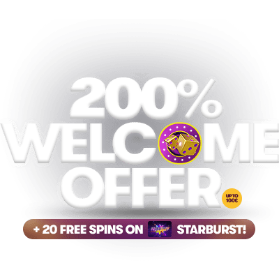 200% welcome offer, up to 100 euros, plus 20 free spins on starburst.